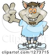 Clipart Of A Happy Werewolf Gesturing Peace Royalty Free Vector Illustration