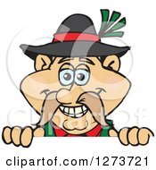 Clipart Of A Happy German Oktoberfest Man Peeking Over A Sign Royalty Free Vector Illustration