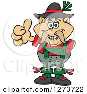 Clipart Of A Happy German Oktoberfest Man Giving A Thumb Up Royalty Free Vector Illustration