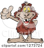 Clipart Of A Happy Bigfoot Giving A Thumb Up Royalty Free Vector Illustration by Dennis Holmes Designs