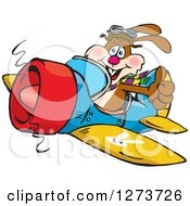 Clipart Of A Happy Rabbit Holding A Thumb Up And Flying A Plane Royalty Free Vector Illustration