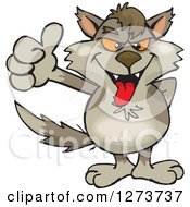 Clipart Of A Wolf Giving A Thumb Up Royalty Free Vector Illustration