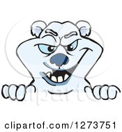 Clipart Of A Polar Bear Peeking Over A Sign Royalty Free Vector Illustration by Dennis Holmes Designs