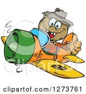 Clipart Of A Happy Scarecrow Flying A Plane And Giving A Thumb Up Royalty Free Vector Illustration