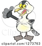 Clipart Of A Happy European Shag Bird Giving A Thumb Up Royalty Free Vector Illustration
