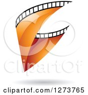Clipart Of A Curve Of Orange Film And A Shadow Royalty Free Vector Illustration by cidepix
