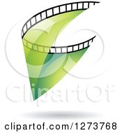 Clipart Of A Curve Of Transparent Green Film And A Shadow Royalty Free Vector Illustration by cidepix