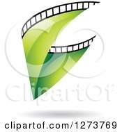 Clipart Of A Curve Of Green Film And A Shadow Royalty Free Vector Illustration by cidepix