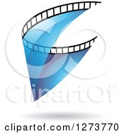 Clipart Of A Curve Of Transparent Blue Film And A Shadow Royalty Free Vector Illustration