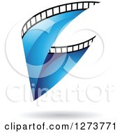 Clipart Of A Curve Of Blue Film And A Shadow Royalty Free Vector Illustration by cidepix