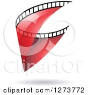 Clipart Of A Curve Of Transparent Red Film And A Shadow Royalty Free Vector Illustration by cidepix