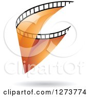 Clipart Of A Curve Of Transparent Orange Film And A Shadow Royalty Free Vector Illustration by cidepix