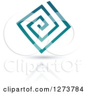 Teal Abstract Spiral Design And Shadow