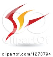 Red And Orange Abstract Flying Bird Design And Shadow