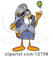 Clipart Picture Of A Suitcase Cartoon Character Preparing To Hit A Tennis Ball