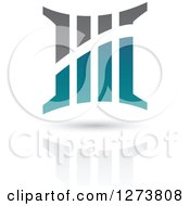 Clipart Of A Teal And Gray Abstract Five Or Column Design And Shadow Royalty Free Vector Illustration