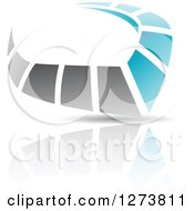 Blue And Gray Abstract Reflective Logo With A Shadow 10