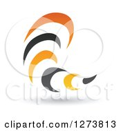 Black And Orange Abstract Tornado Design With A Shadow