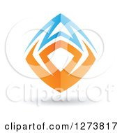 Blue And Orange Abstract Shield Design And Shadow 3