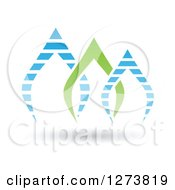 Clipart Of Blue And Green Pointed Arches Design And Shadow Royalty Free Vector Illustration
