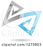 Blue And Gray Abstract Reflective Logo With A Shadow 3