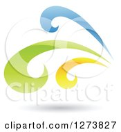 Clipart Of A Blue Green And Yellow Splash And Shadow Royalty Free Vector Illustration