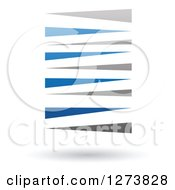 Clipart Of A Blue And Gray Stripes Design And Shadow Royalty Free Vector Illustration by cidepix