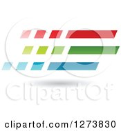 Clipart Of A Red Green And Blue Speed Lines And Shadow Design Royalty Free Vector Illustration