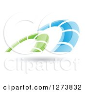 Clipart Of A Blue And Green Arches Design And Shadow Royalty Free Vector Illustration