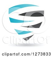 Clipart Of A Blue And Black Abstract Shield And Shadow Royalty Free Vector Illustration by cidepix