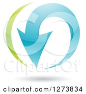 Clipart Of A Green And Blue Curving Arrow And Shadow Royalty Free Vector Illustration by cidepix