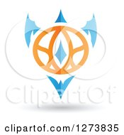 Clipart Of A Blue And Orange Abstract Shield Design And Shadow 2 Royalty Free Vector Illustration by cidepix