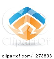 Clipart Of A Blue And Orange Abstract Shield Design And Shadow Royalty Free Vector Illustration by cidepix