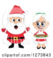 Clipart Of A Happy Welcoming Christmas Mr And Mrs Santa Claus Royalty Free Vector Illustration