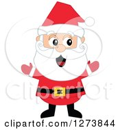 Clipart Of A Happy Welcoming Christmas Santa Claus With Open Arms Royalty Free Vector Illustration