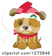 Clipart Of A Cute Brown Christmas Dog Wearing A Santa Hat Royalty Free Vector Illustration by peachidesigns #COLLC1273846-0137