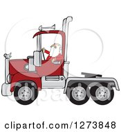 Clipart Of Santa Driving A Christmas Big Rig Truck Royalty Free Vector Illustration