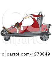 Clipart Of Santa Driving A Christmas Go Kart Royalty Free Vector Illustration by Dennis Cox