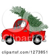 Clipart Of Santa Driving A Fresh Cut Christmas Tree In A Red Pickup Truck Royalty Free Illustration