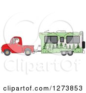 Santa Driving A Pickup Truck And Hauling A Christmas Travel Trailer