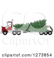 Santa Driving A Big Rig Truck With A Huge Christmas Tree
