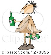 Clipart Of A Hairy Caveman Holding Wine Bottles Royalty Free Vector Illustration