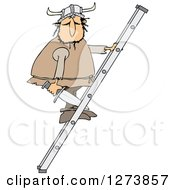 Clipart Of A Viking Man Holding A Sword And Climbing A Ladder Royalty Free Vector Illustration