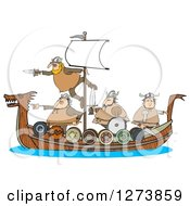Clipart Of Viking Men Geared For War On A Boat Royalty Free Illustration