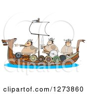 Clipart Of Viking Men Geared For War And Sailing On A Boat Royalty Free Illustration
