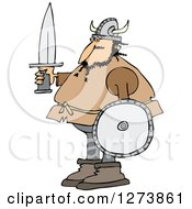 Clipart Of A Viking Man Holding A Sword And Shield Royalty Free Vector Illustration