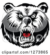 Clipart Of A Black And White Angry Bear Face With A Gray Nose And Red Tongue Royalty Free Vector Illustration by Seamartini Graphics