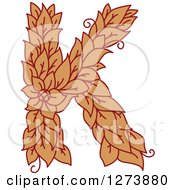 Clipart Of A Floral Capital Letter K With A Flower Royalty Free Vector Illustration