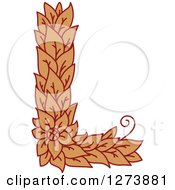 Clipart Of A Floral Capital Letter L With A Flower Royalty Free Vector Illustration