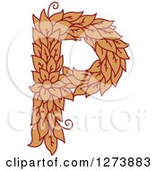 Clipart Of A Floral Capital Letter P With A Flower Royalty Free Vector Illustration